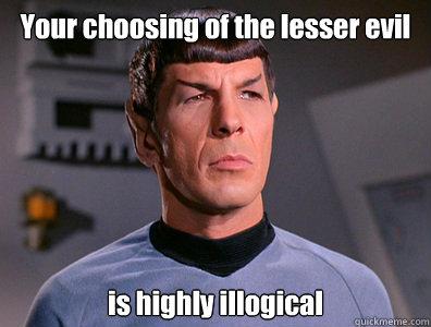 """Spock: """"Vaše biranje manjeg zla je vrlo nelogično."""""""