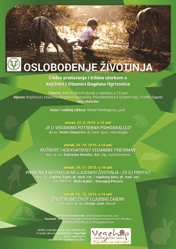 """Ciklus predavanja i tribina """"Oslobođenje životinja"""" utorkom u knjižnici Bogdana Ogrizovića na Cvjetnom trgu"""