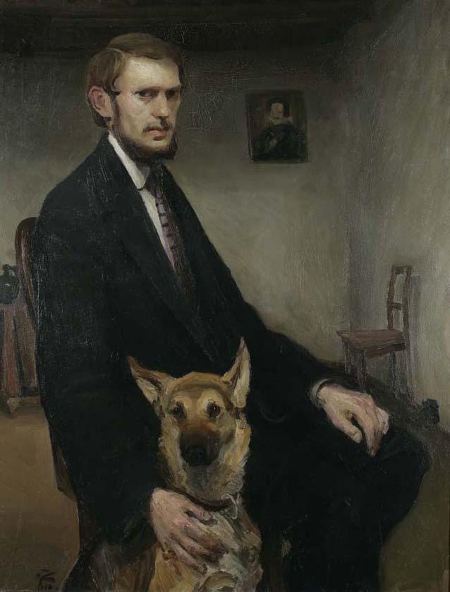 "Miroslav Kraljević, ""Autoportret sa psom"", Foto: Goran Vranić©Moderna galerija, Zagreb"