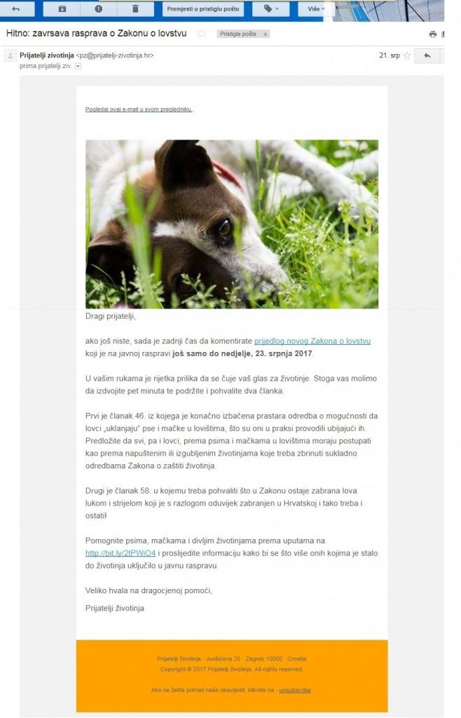 Poziv koji su Prijatelji životinja slali e-poštom svim aktivistima da se uključe u raspravu na e-Savjetovanju.