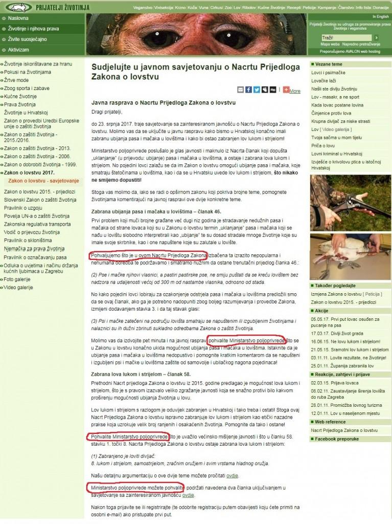 Zašto su Prijatelji životinja na svojoj mrežnoj stranici čak nekoliko puta pozvali javnost i aktiviste da pohvale zloglasno Ministarstvo poljoprivrede i krvavi Zakon o lovstvu, zar je to u interesu nedužnih žrtava?